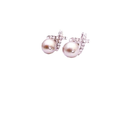 Fabulous Gift For Bridesmaid Platinium Champagne Pearls Earring
