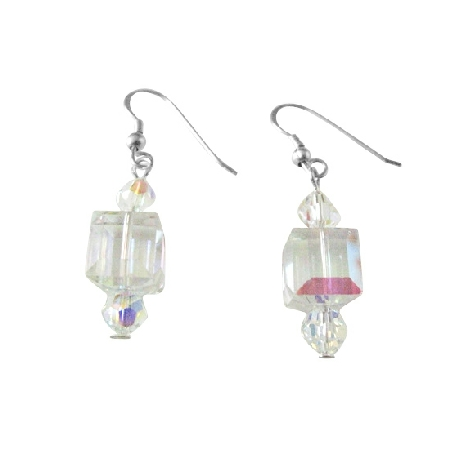 Unique Luxurious Swarovski AB Cube Crystals Earrings 92.5 Silver Hook