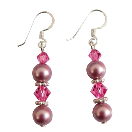 Swarovski Rose Pearls Rose Color Crystals Silver Hook Earrings