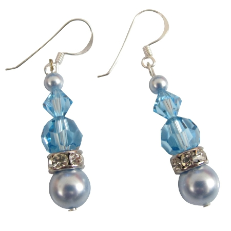 Swarovski Lite Blue & Aquamarine Crystals Silver Hook Earrings