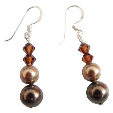 Designer Swarovski Brown Bronze Pearls Silver Hook Earrings