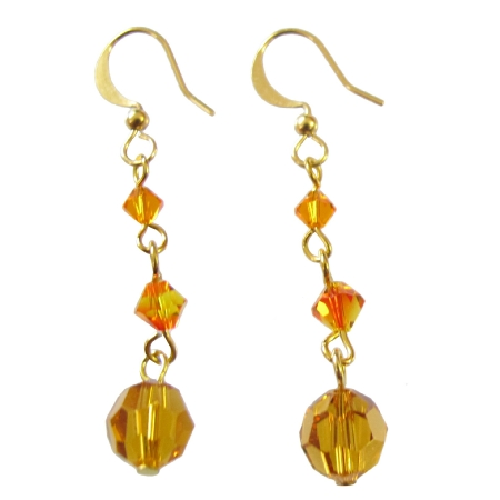 Fashionable Glittering Orange Swarovski Crystals Earrings