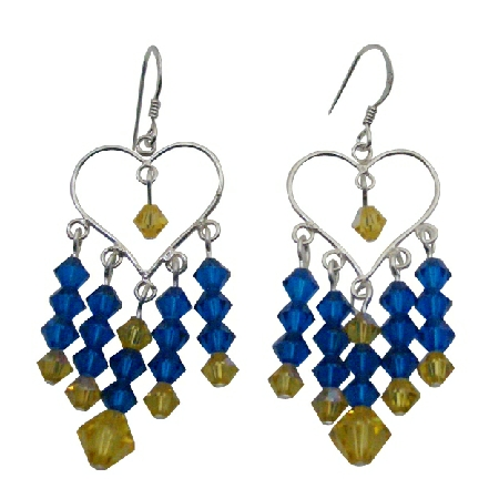 Fashion Design Swarovski Capri Blue Earrings For Young Girls