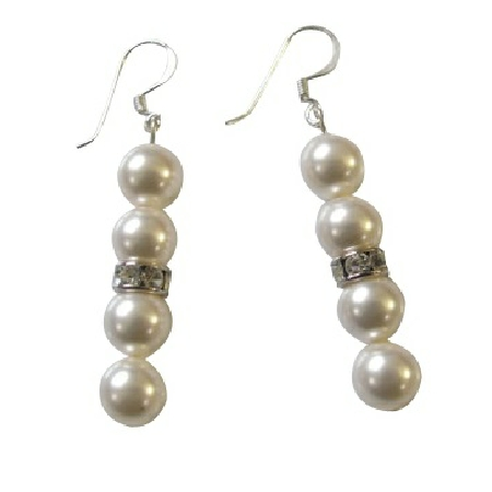 Sophisticate Elegant White Pearls Jewelry Earrings