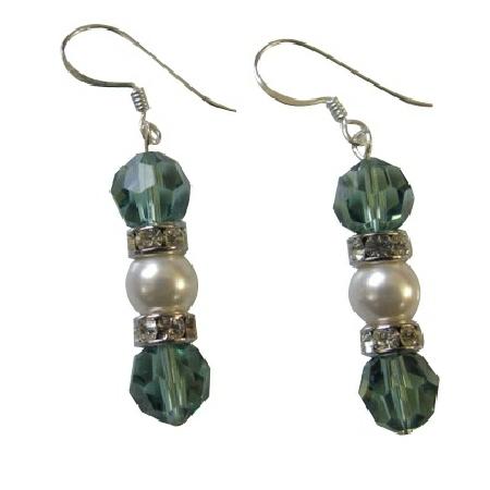 Erinite Swarovski Crystals Earrings w/ Ivory Pearls