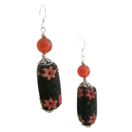Black Orange Fall Jewelry Handmade Bead Absolutely Affordable Earrings