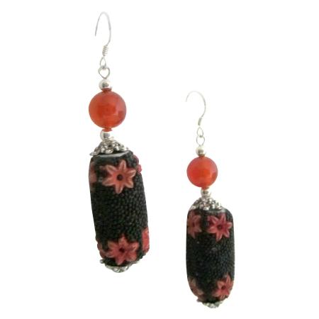 Black Orange Fall Jewelry Handmade Bead Absolutely Affordable Earrings