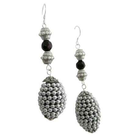Kashmiri Oval Handmade Beaded Christmas Party Silver Jewelry Earrings