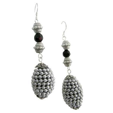 Kashmiri Oval Handmade Beaded Christmas Party Silver Jewelry Earrings