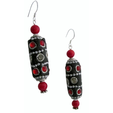 Kashmiri Bead Tube Shaped Hot Appealing Cool Earrings Christmas Gift