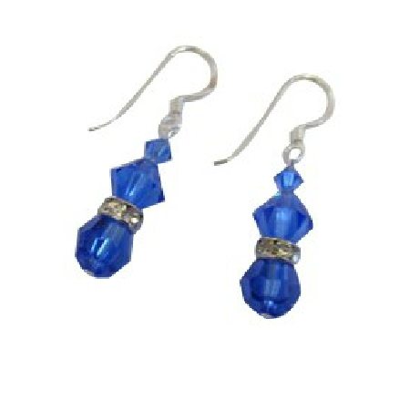 Dazzling Sapphire Crystals Mother Gift Valentine Earrings