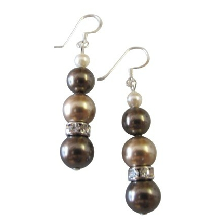 Trio COlor Ivory Bronze Brown Wedding Earrings