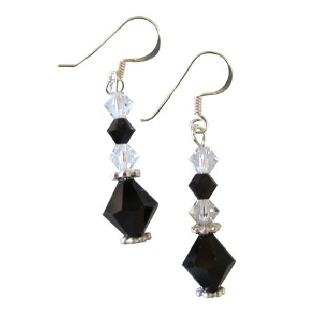 Incredible Price Jet Clear Crystals Earrings Gift Affordable Jewelry