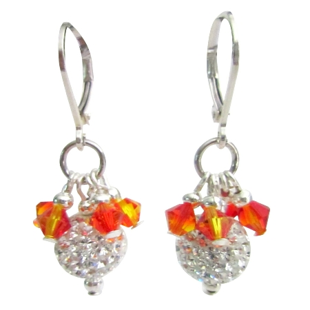 Fire Opal Crystals Silver Pave Ball Hang From Leverback Earrings