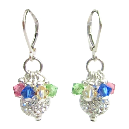 Christmas Holidays Party Gift Pave Ball Multicolor Crystals Earrings