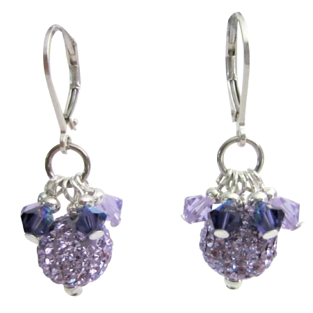 Violet Pave Ball w/ Swarovski Purple Crystals Fine Earrings Jewelry