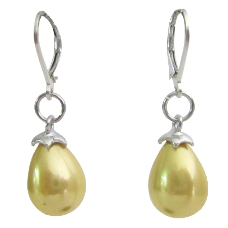 Yellow Freshwater Baroque Pearl Drop 92.5 Silver Leverback Earrings