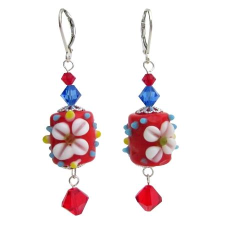 Red Flower Lampwork Swarovski Crystals Sterling Silver Earring