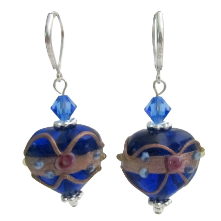 Handmade Blue Heart Lampwork Bead Earrings w/ Swarovski Crystals