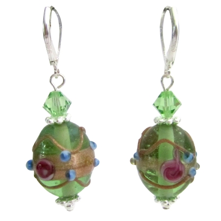 Green Oval Shaped Handmade Lampwork Beads Peridot Crystals Earrings