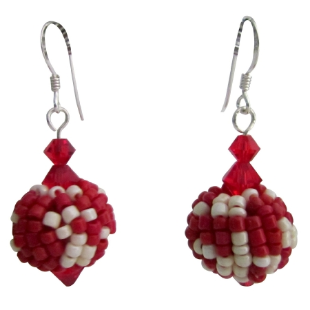 Red White Combo Earrings Exotic Style Valentine Gift