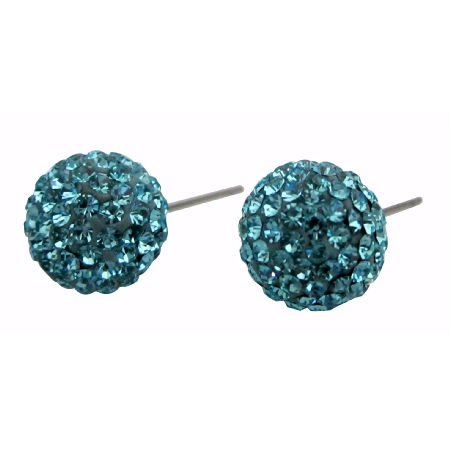 Versatility Pave Stud Earrings Aquaranie Crystals