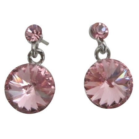 Sleek Dainty Rose Crystal Post Earrings Bridesmaid Gift