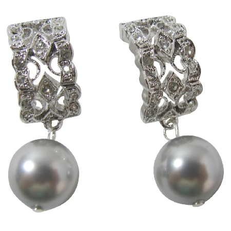 Rhinestone Swarovski Grey Pearl Drop Dangle Earrings