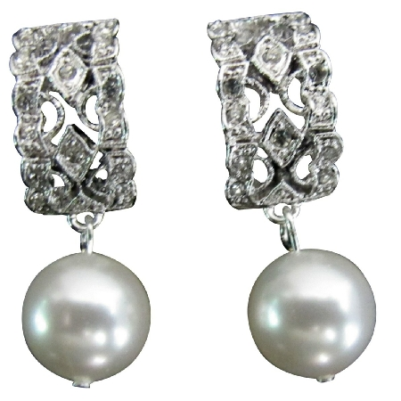 Gorgeous Wedding Earrings White Pearl Drop with Rhinestones