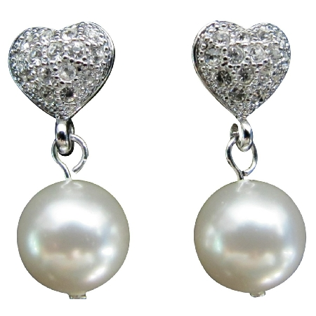 White Pearl Heart Surgical Post Earrings