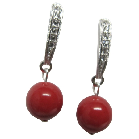 Bridal Party Wear Earrings Red Pearl Post Earrings