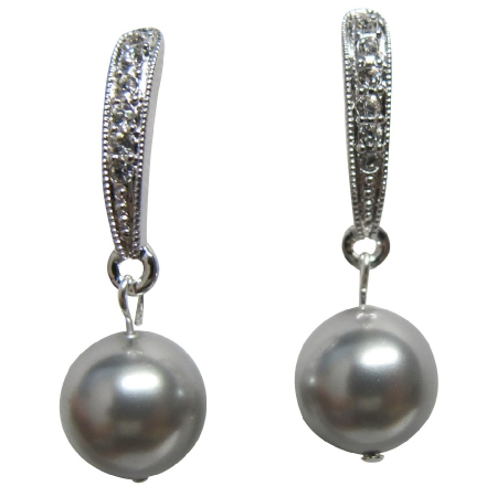 Wedding Earrings Grey Pearl with Diamante Dangling