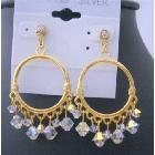 Swarovski AB Crystal w/ 22k Gold Plated Hoop Chandelier Earrings