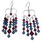 Swarovski Ruby Crystals And Silver Earrings
