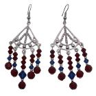 Beautiful Earrings Red Blue Crystals Silver Chandelier For Wedding