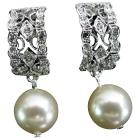 Bridal Wedding Drop Ivory Pearl Post Earrings