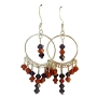 Handcrafted Earrings Genuine Indan Red(Orange) & Voilet Crystals w/ Sterling Silver 92.5 Chandelier