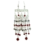 Sterling Silver Dangling w/ Genuine Siam Red Crystals Bicone 4mm
