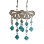 Fine Genuine Sterling 92.5 Silver Chandelier w/ Genuine Blue Zircon Crystals Dangling
