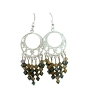 Smoked Topaz & Toback Crystal w/ Silver 92.5 Round Chandelier Earrings