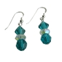 Swarovski Blue Zircon w/ AB Spacer Sterling Silver Dangled Earrings