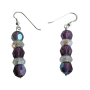 Sterling Silver AB Amethyst Swarovski Crystals w/ AB Spacer Earrings