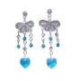 Heart Dangling Blue Zircon Swarovski Crystal Silver Chandelier Earring