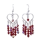 AB Siam Swarovski Crystal Heart Silver Heart Chandelier Earrings