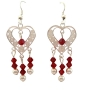 Heart Silver Chandelier w/ Siam Red Crystal & White Pearls Earrings