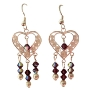 AB Amethyst Swarovski Crystal Sterling 92.5 Heart Chandelier Earrings