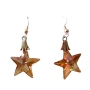 Golden Shadow Crystal Starfish Crystal 15mm Sterling Silver Earrings