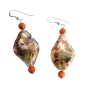 Twisted Filled Glass Beads w/ Cat Eye Bead Sterling Silver Earrings