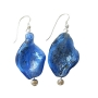 Blue Filled Twisted Glass Beads Cat Eye Bead Sterling Silver Earrings