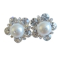 Swarovski White Pearls Stud Earrings Dressed w/ Cubic Zircon Earrings